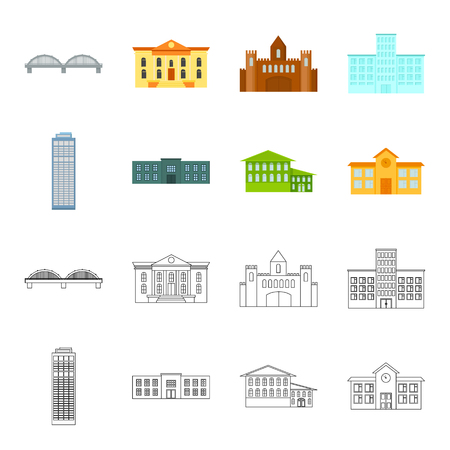 Skyscraper, police, hotel, school.Building set collection icons in cartoon,outline style vector symbol stock illustration web. Illustration