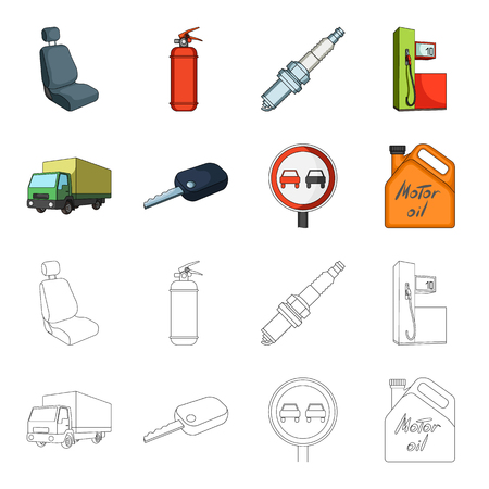 Truck with awning, ignition key, prohibitory sign, engine oil in canister, Vehicle set collection icons in cartoon,outline style vector symbol stock illustration web.