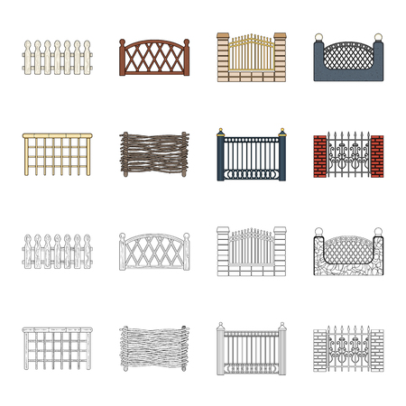 A fence of metal and bricks,wooden palisade. A different fence set collection icons in cartoon,outline style vector symbol stock illustration web.