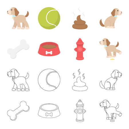 A bone, a fire hydrant, a bowl of food, a pissing dog.Dog set collection icons in cartoon,outline style vector symbol stock illustration web.