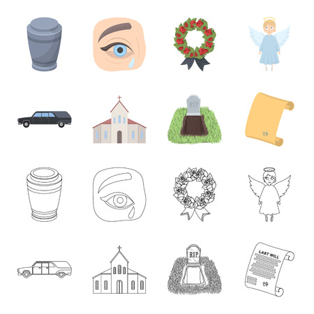 Black cadillac to transport the grave of the deceased, a church for a funeral ceremony, a grave with a tombstone, a death certificate. Funeral ceremony set collection icons in cartoon,outline style vector symbol stock illustration web.
