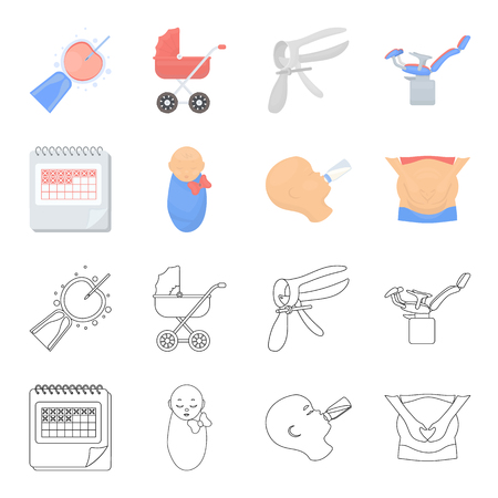 Calendar, newborn, stomach massage, artificial feeding. Pregnancy set collection icons in cartoon,outline style vector symbol stock illustration web.