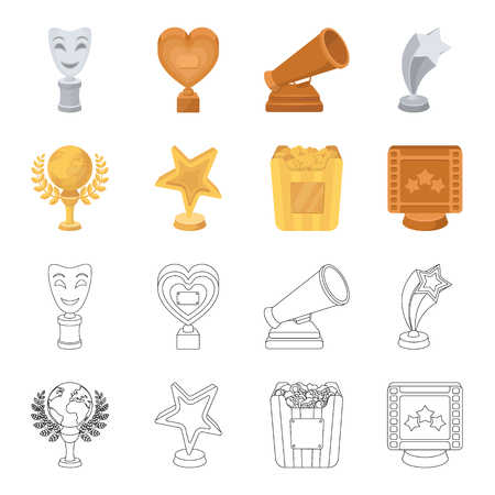 A gold prize in the form of a star, a gold globe and other prizes.Movie awards set collection icons in cartoon,outline style vector symbol stock illustration web.
