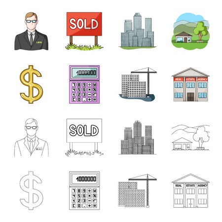 Calculator, dollar sign, new building, real estate offices.  set collection icons in cartoon,outline style vector symbol stock illustration web.