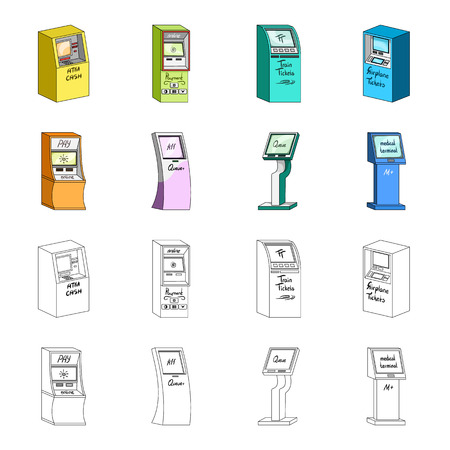 Medical terminal, ATM for payment,apparatus for queue. Terminals set collection icons in cartoon,outline style isometric vector symbol stock illustration web . 矢量图像