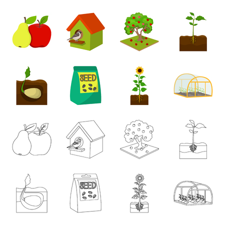 Company, ecology, and other web icon in cartoon,outline style. Husks, fines, garden icons in set collection. Stock Illustratie