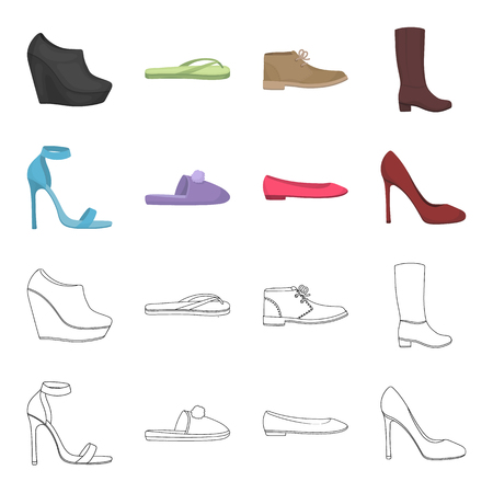 Blue high-heeled sandals, homemade lilac slippers with a pampon, pink womens ballet flats, brown high-heeled shoes. Shoes set collection icons in cartoon,outline style vector symbol stock illustration web.