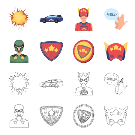 Man, mask, cloak, and other web icon in cartoon,outline style.Costume, superforce, icons in set collection. Ilustração