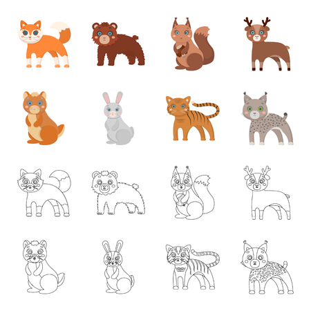Animals, domestic, wild and other web icon in cartoon,outline style. Zoo, toys, children, icons in set collection.