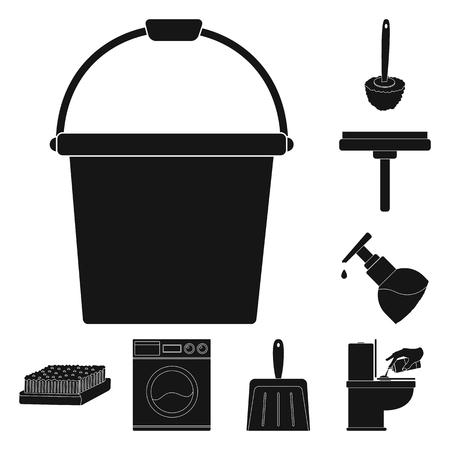 Limpieza y mucama iconos negros en conjunto para el diseño. Equipo para la limpieza de ilustración vectorial símbolo stock web. Ilustración de vector