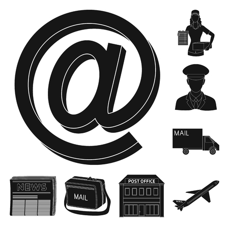Mail and postman black icons in set collection for design. Mail and equipment vector symbol stock web illustration. Çizim