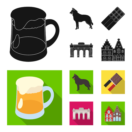 Chocolate, cathedral and other symbols of the country.Belgium set collection icons in black, flat style vector symbol stock illustration web.