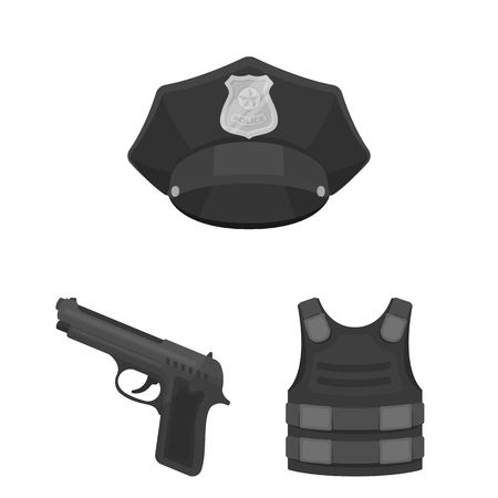 Police, Department monochrome icons in set collection for design.Detective and accessories vector symbol stock web illustration.