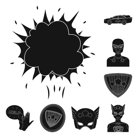 A fantastic superhero black icons in set collection for design. Superheros equipment vector symbol stock web illustration. Illustration