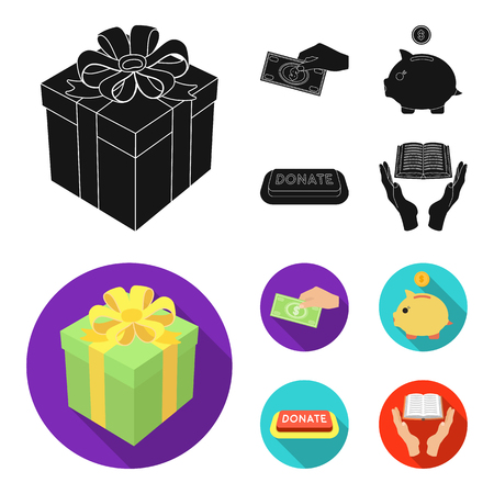Hand with money for poshestvovaniya, a piggy bank for charity, a button with an inscription, a book for the blind in their hands. Charity and donation set collection icons in black, flat style vector symbol stock illustration web.