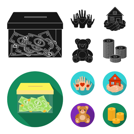 Boxing glass with donations, hands with hearts, house in hands, teddy bear for charity. Charity and donation set collection icons in black, flat style vector symbol stock illustration web.