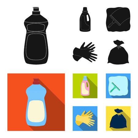 Gel for washing in a pink bottle, yellow gloves for cleaning, a brush for glass, a black bag for garbage or waste. Cleaning set collection icons in black, flat style vector symbol stock illustration web.