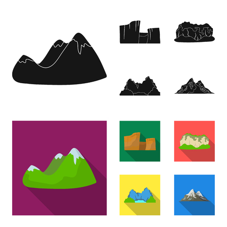 Green mountains with snow tops, a canyon, rocks with forests, a lagoon and rocks. Different mountains set collection icons in black, flat style vector symbol stock illustration web.