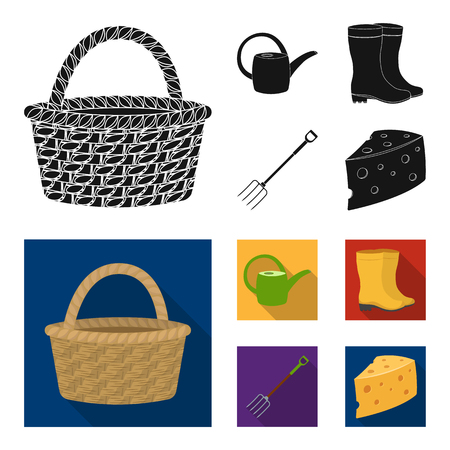 Basket wicker, watering can for irrigation, rubber boots, forks. Farm and gardening set collection icons in black, flat style vector symbol stock illustration web.
