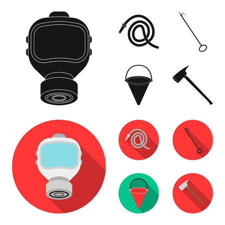 Gas mask, hose, bucket, bagore. Fire department set collection icons in black, flat style vector symbol stock illustration web.