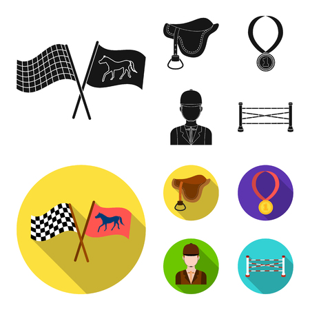 Saddle, medal, champion, winner .Hippodrome and horse set collection icons in black, flat style vector symbol stock illustration web.