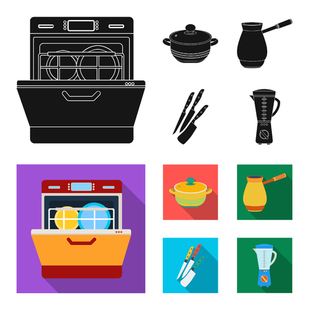 Kitchen equipment black, flat icons in set collection for design. Kitchen and accessories vector symbol stock web illustration.