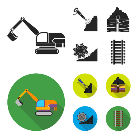 Excavator, tunnel, elevator, coal harvester and other equipment.Mine set collection icons in black, flat style vector symbol stock illustration web.