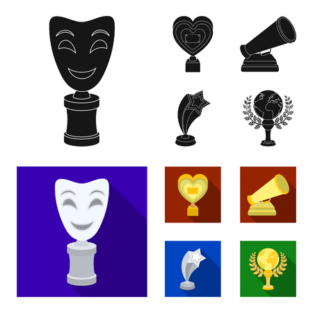 White Mask Mime for the best drama, a prize in the form of the heart and other prizes.Movie awards set collection icons in black, flat style vector symbol stock illustration web.