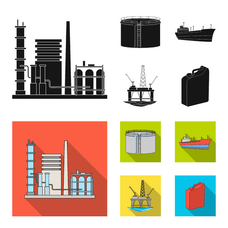 Oil refinery, tank, tanker, tower. Oil set collection icons in black, flat style vector symbol stock illustration web.