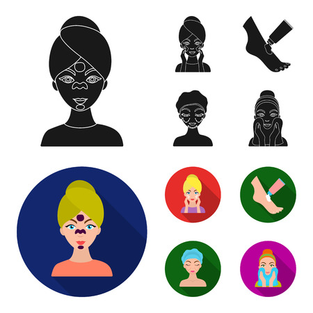 Face care, plastic surgery, face wiping, moisturizing the feet. Skin Care set collection icons in black, flat style vector symbol stock illustration web.