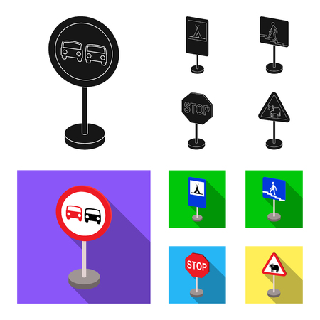 Different types of road signs black, flat icons in set collection for design. Warning and prohibition signs vector symbol stock web illustration. Archivio Fotografico - 102973545
