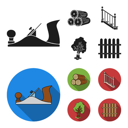 Logs in a stack, plane, tree, ladder with handrails. Sawmill and timber set collection icons in black, flat style vector symbol stock illustration web.