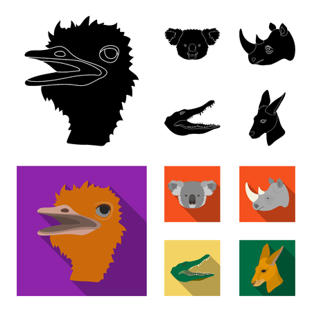 Ostrich, koala, rhinoceros, crocodile, realistic animals set collection icons in black, flat style vector symbol stock illustration web.