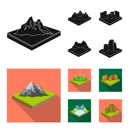 Mountains, rocks and landscape. Relief and mountains set collection icons in black, flat style isometric vector symbol stock illustration web.