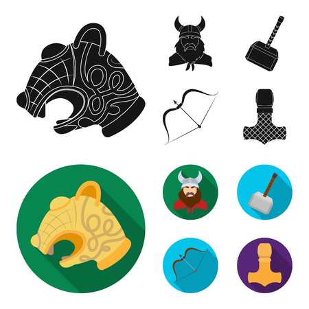 Viking in helmet with horns, mace, bow with arrow, treasure. Vikings set collection icons in black, flat style vector symbol stock illustration web.