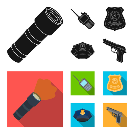 Radio, police officers badge, uniform cap, pistol.Police set collection icons in black, flat style vector symbol stock illustration web.