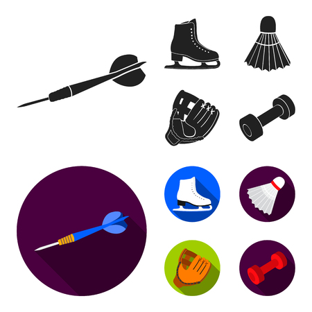Darts darts, white skate skates, badminton shuttlecock, glove for the game.Sport set collection icons in black,flat style vector symbol stock illustration web.