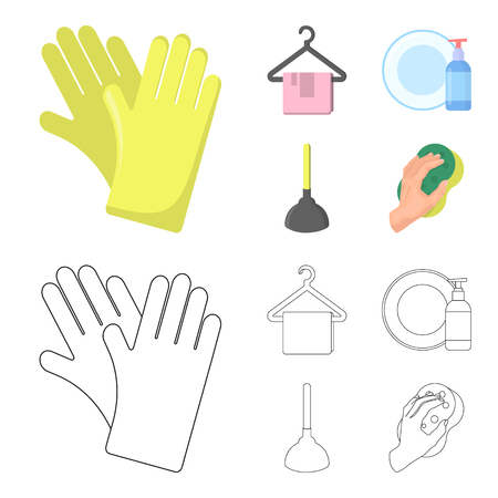 Cleaning and maid cartoon,outline icons in set collection for design. Equipment for cleaning vector symbol stock web illustration. Vectores