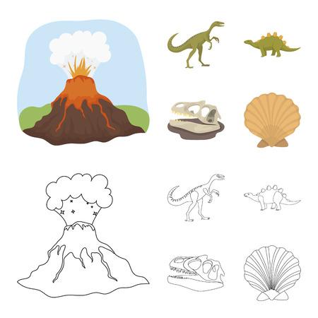 Volcanic eruption, gallimimus, stegosaurus,dinosaur skull. Dinosaur and prehistoric period set collection icons in cartoon,outline style vector symbol stock illustration web.