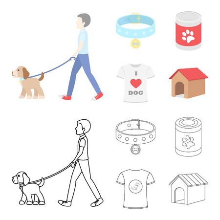 A man walks with a dog, a collar with a medal, food, a T-shirt I love dog.Dog set collection icons in cartoon,outline style vector symbol stock illustration web.