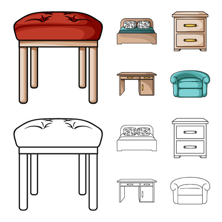 Interior, design, bed, bedroom .Furniture and home interiorset collection icons in cartoon,outline style vector symbol stock illustration web.