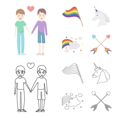 Flag, unicorn symbol, arrows with heart.Gay set collection icons in cartoon,outline style vector symbol stock illustration web.