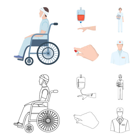 Invalid with trauma, blood transfusion, doctor, medication in the hands of a doctor. Medicineset collection icons in cartoon,outline style vector symbol stock illustration web.