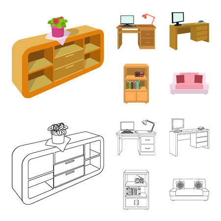 A shelf with a flower, a desk with a computer and a lamp ,a table with a monitor and a book, a cabinet with documents and a radio.Furniture and interior set collection icons in cartoon,outline style isometric vector symbol stock illustration web.