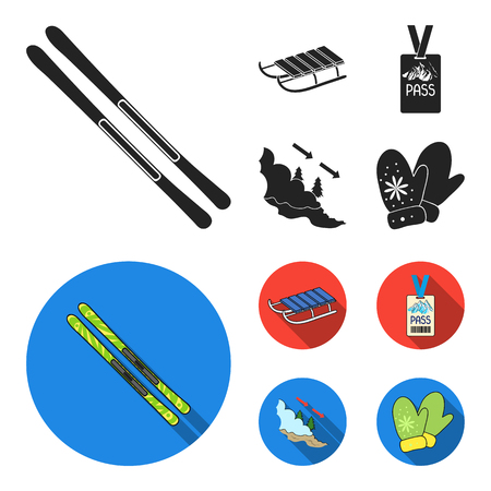 Ski, sled, lifeguard badge, badge avalanche. Ski resort set collection icons in black,flat style vector symbol stock illustration web.
