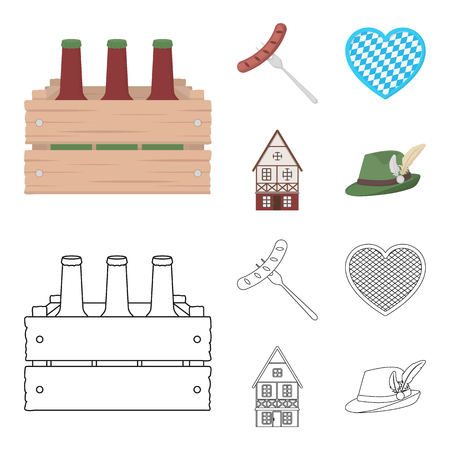 Box with beer, fried sausage, heart of the festival, bavarian cottage. Oktoberfest set collection icons in cartoon,outline style vector symbol stock illustration web. Ilustrace