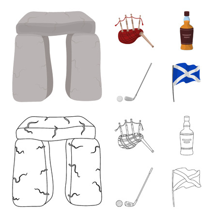Stone monument, bagpipe, whiskey, golf. Scotland country set collection icons in cartoon,outline style vector symbol stock illustration web.