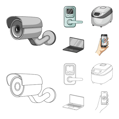 Home appliances and equipment cartoon,outline icons in set collection for design.Modern household appliances vector symbol stock web illustration.