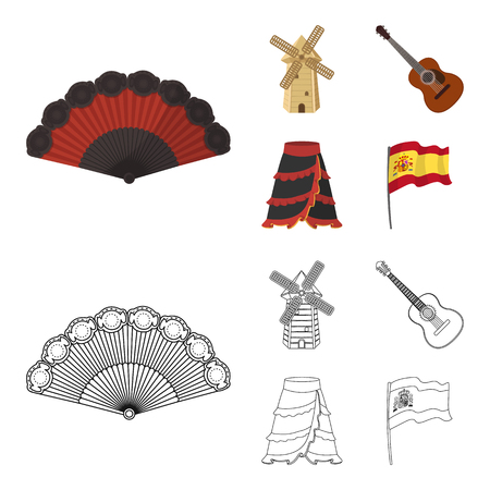Fan Spanish, mill, guitar, skirt for national Spanish dances. Spain country set collection icons in cartoon,outline style vector symbol stock illustration web.