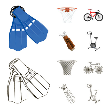 Flippers for swimming, basketball basket, net, racing holograph, golf bag. Sport set collection icons in cartoon,outline ,flat style vector symbol stock illustration web.
